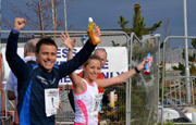 Craig cheering during race for charity