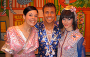 Craig with two ladies in pantomime